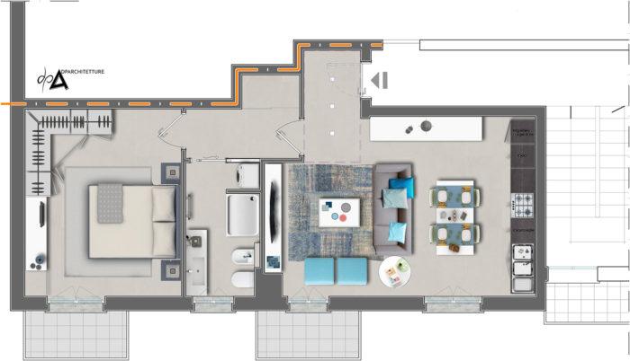 Ristrutturazione appartamento-arredo pianta-dpa